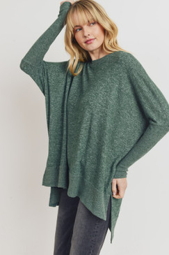 Brushed Knit Boxy Side Slit Top, Hunter Green