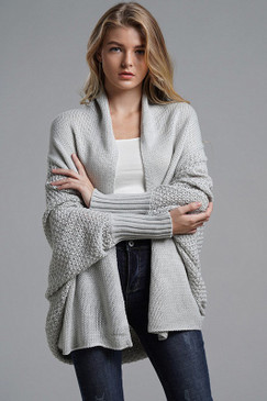 Crochet Sleeve Duster, Grey