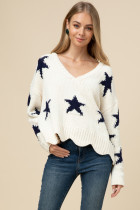 Chenille Star Sweater, Cream