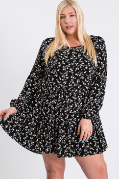 Curvy Floral L/S Layered Dress, Black