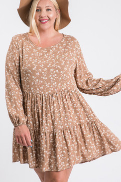 Curvy Floral L/S Layered Dress, Taupe