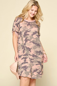 Curvy S/S Camo Dress, Camo Mauve