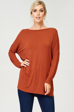 Solid Loose Fit Tunic Top, Tobacco