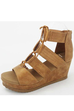 Beverly Hills Lace Up Wedge, Tan