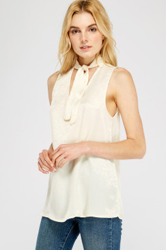 Tie V-Neck S/L Top, Cream
