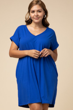 Curvy Solid V-Neck Pocket Dress, Royal