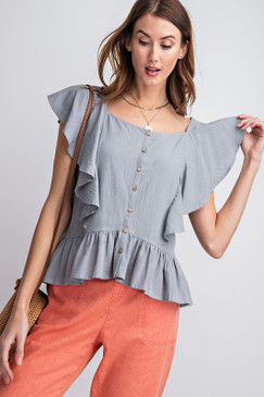 Cropped Ruffle Button Blouse, Blue Grey