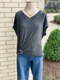 Curvy Washed Off Top, Charcoal