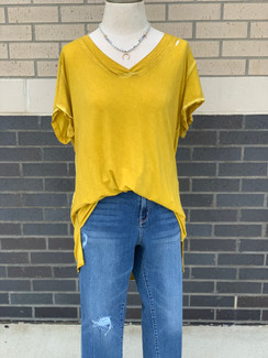 Curvy Washed Off Top, Mustard