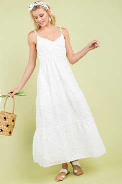 Embroidered Open Back Maxi Dress, White
