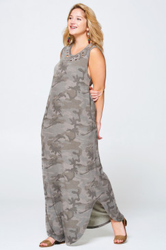 Curvy Distressed Camo Tank Dress, Camo Grey