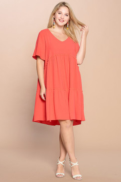 Curvy V-Neck Solid Tiered Dress, Coral