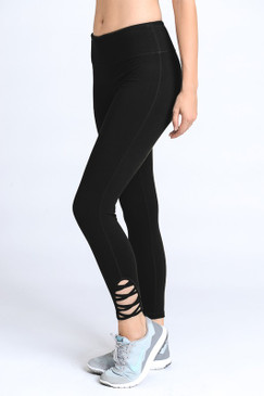 Lattice Strap Full Leggings, Black