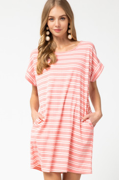 Striped Ribbed Scoop-Neck Dress, Pink