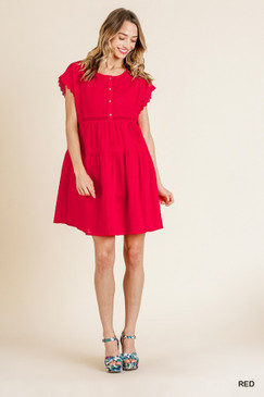 Scalloped Lace Sleeve Round Neck, Red