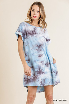 Tye Dye Short Sleeve Pocket Dress, Sky/Brown