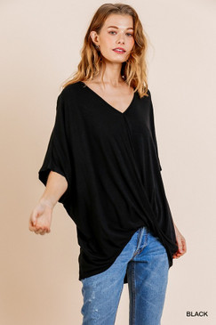 Relaxed Fit Surplice Top, Black