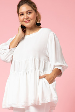 Curvy Tiered Smock Top, Off White
