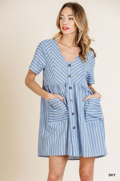 Striped Short Sleeve V-Neck Dress, Sky