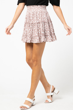 Spotted Print Tiered Skirt, Off White