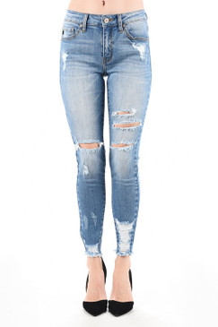 Mid Rise Destroyed Skinny Jean