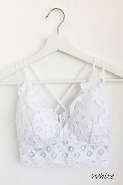 The Scalloped Lace Bralette, White