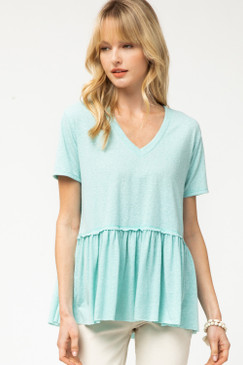 Scoop Neck Peplum Top, Seafoam