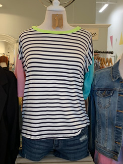 Striped Top w/ Multi-Color Sleeve, Navy