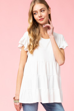 Tiered Ruffle Sleeve Top, Off White