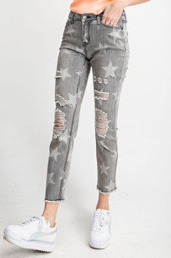 Star Printed Distressed Pants, Black Denim