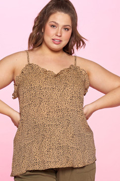 Curvy Ditzy Dot Printed Cami, Taupe