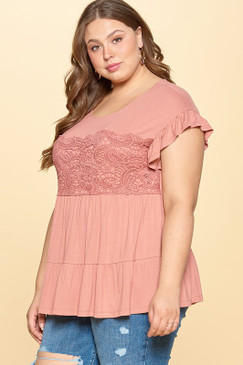 Curvy Solid Top W/ Tiered Skirt, Mauve