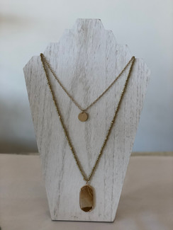 Oval Stone Pendant Necklace, Brown