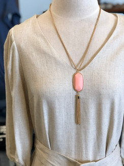 The Stone & Chain Tassel Necklace, Light Pink