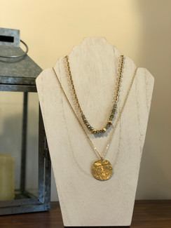 Gold Layered and Natural Crystal Necklace