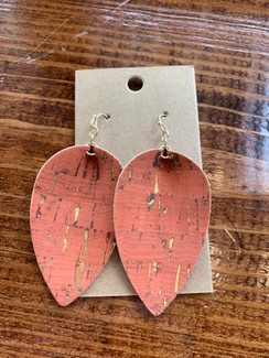 Printed Cork Iconic Earrings, Coral