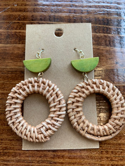 Bamboo Open Round Earrings, Olive Green
