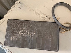 Leather Printed Key Ring Wallet, Grey