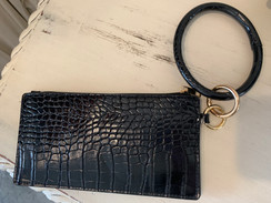 Leather Printed Key Ring Wallet