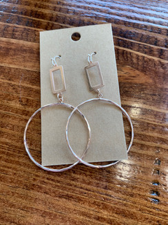 Gold Open Rectangle & Circle Earring, Rose Gold