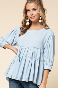 Tiered Smock Top, Blue