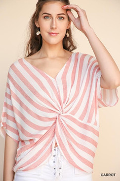 Striped Dolman w/ Gathered Front, Carrot