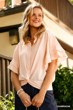 Collared Button Up w/ Ruffle Sleeve, Champagne