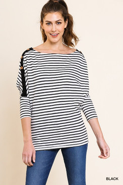 Striped Long Sleeve Top w/ Buttons