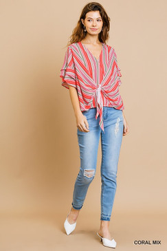 Striped Layered Ruffle SS V-Neck, Coral Mix