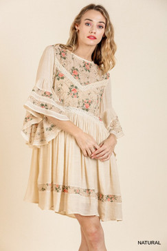 Floral Print Lace Bell Sleeve Dress, Natural