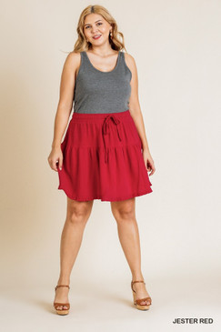 Curvy High Waisted Ruffle Skirt, Jester Red