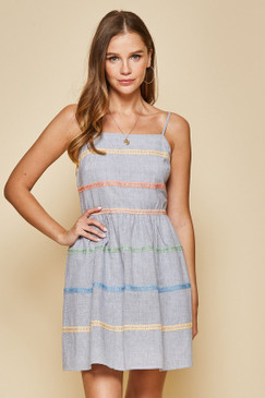 Fit and Flare Striped Dress, Navy Multi