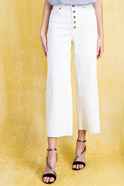 High Wasted Wide Leg Pants, White