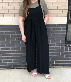 Overall Rayon Crepe Jumpsuit, Black
